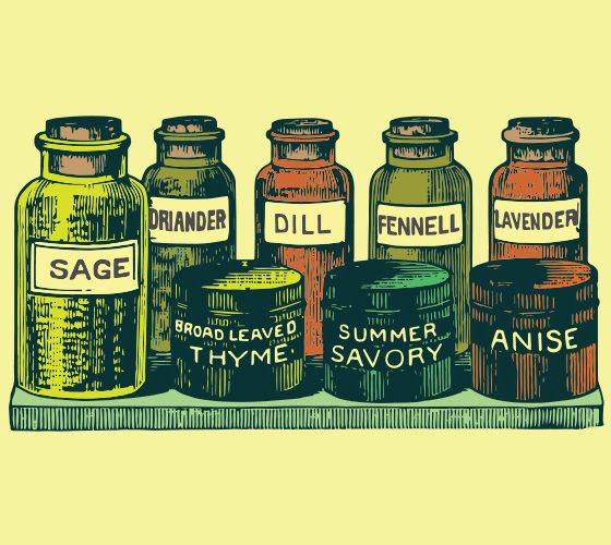 Herbs bottles