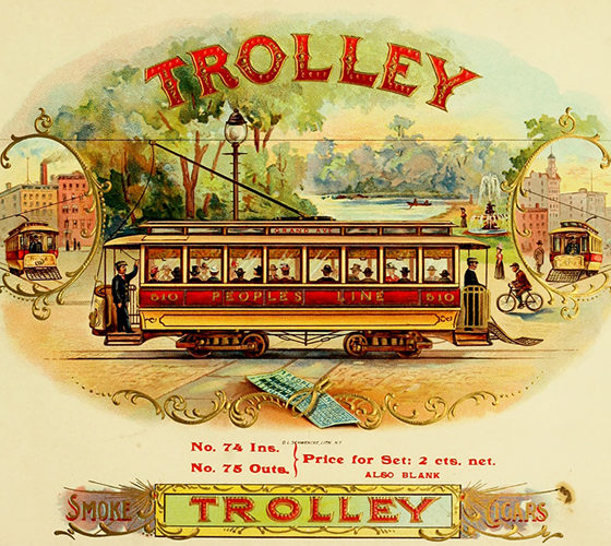 Vintage advertising trolley cigars