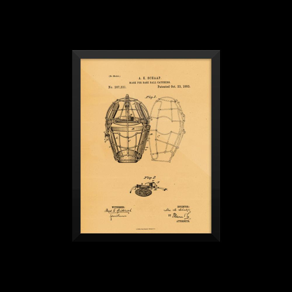 Baseball Mask Patent Poster